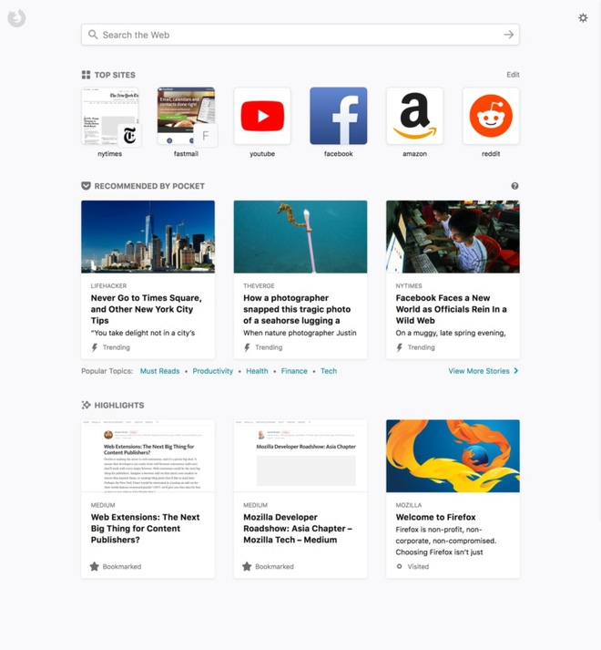 Trang New Tab của Firefox Quantum.