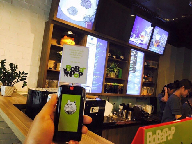 Quán trà sữa Bobapop sử dụng thẻ báo rung của Ecall.vn