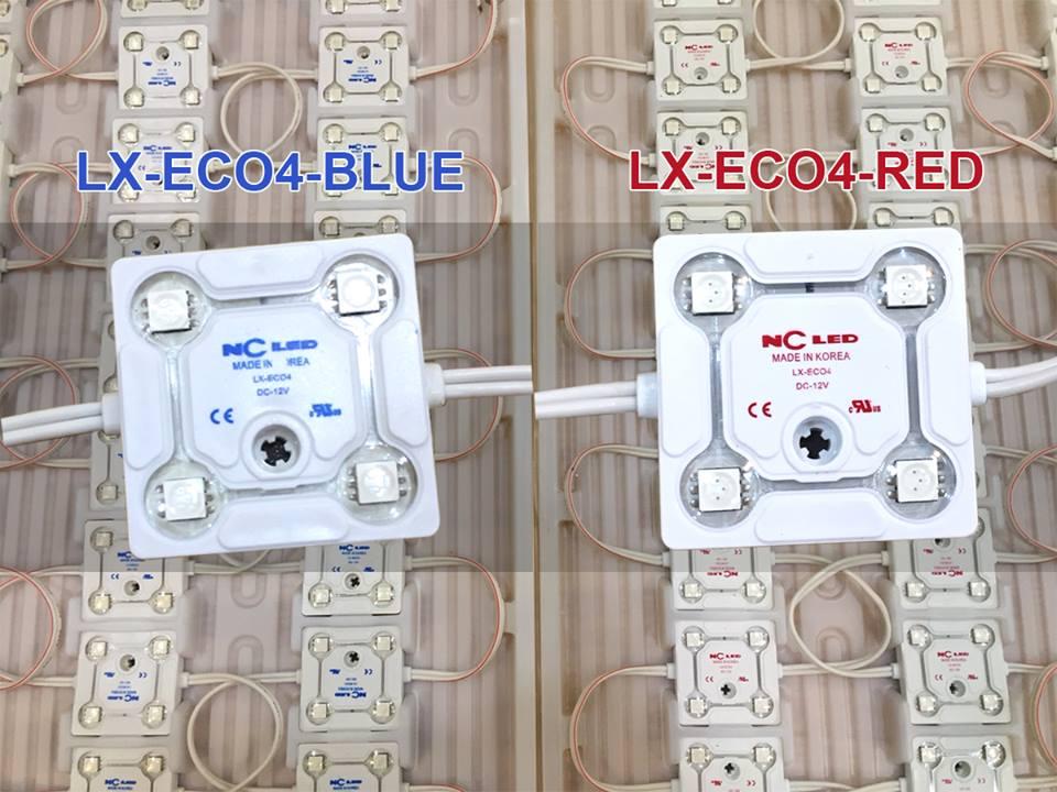LED NC HÀN QUỐC 4 BÓNG ÁNH SÁNG ĐỎ/XANH DƯƠNG  LX-ECO4-BLUE/RED
