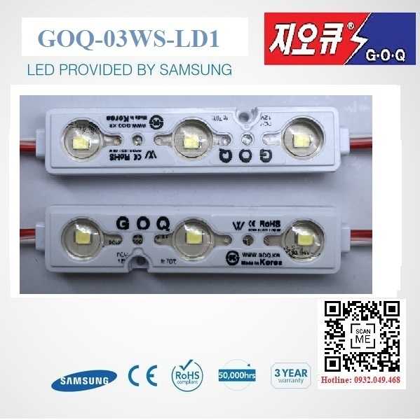 ĐÈN LED MODULE 3 BÓNG SEOUL 2835 HIỆU GOQ | Mã: GOQ-03WK-LD1-SE2835