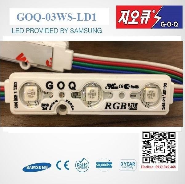 ĐÈN LED MODULE 3 BÓNG RGB HIỆU GOQ  Mã: GOQ-03RGB-L1-D5050