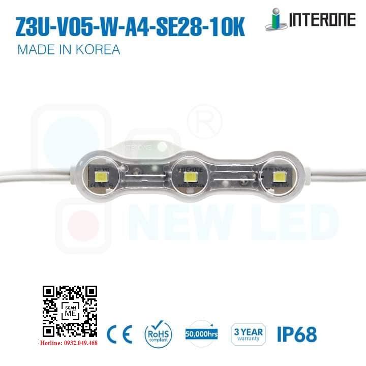 ĐÈN LED MODULE  3 BÓNG SEOUL 2835 HIỆU INTERONE | Mã: Z3U-V05-W-A4-SE28-10K