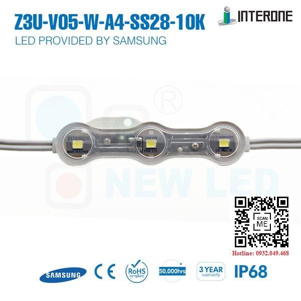 ĐÈN LED MODULE 3 BÓNG SAMSUNG 2835 HIỆU INTERONE / Mã: Z3U-V05-W-A4-SS28-10K
