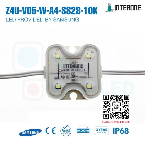 ĐÈN LED MODULE 4 BÓNG SAMSUNG 2835 HIỆU INTERONE   Mã: Z4U-V05-W-A4-SS28-10K