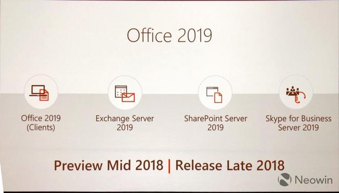 Microsoft sẽ ra mắt Office 2019 vào mùa thu năm 2018