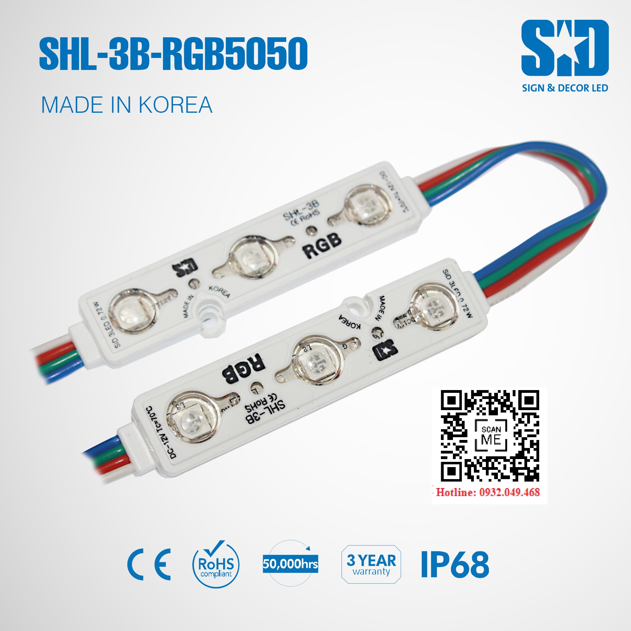 ĐÈN LED MODULE 3 BÓNG RGB HIỆU SID   Mã: SHL-3B-RGB5050