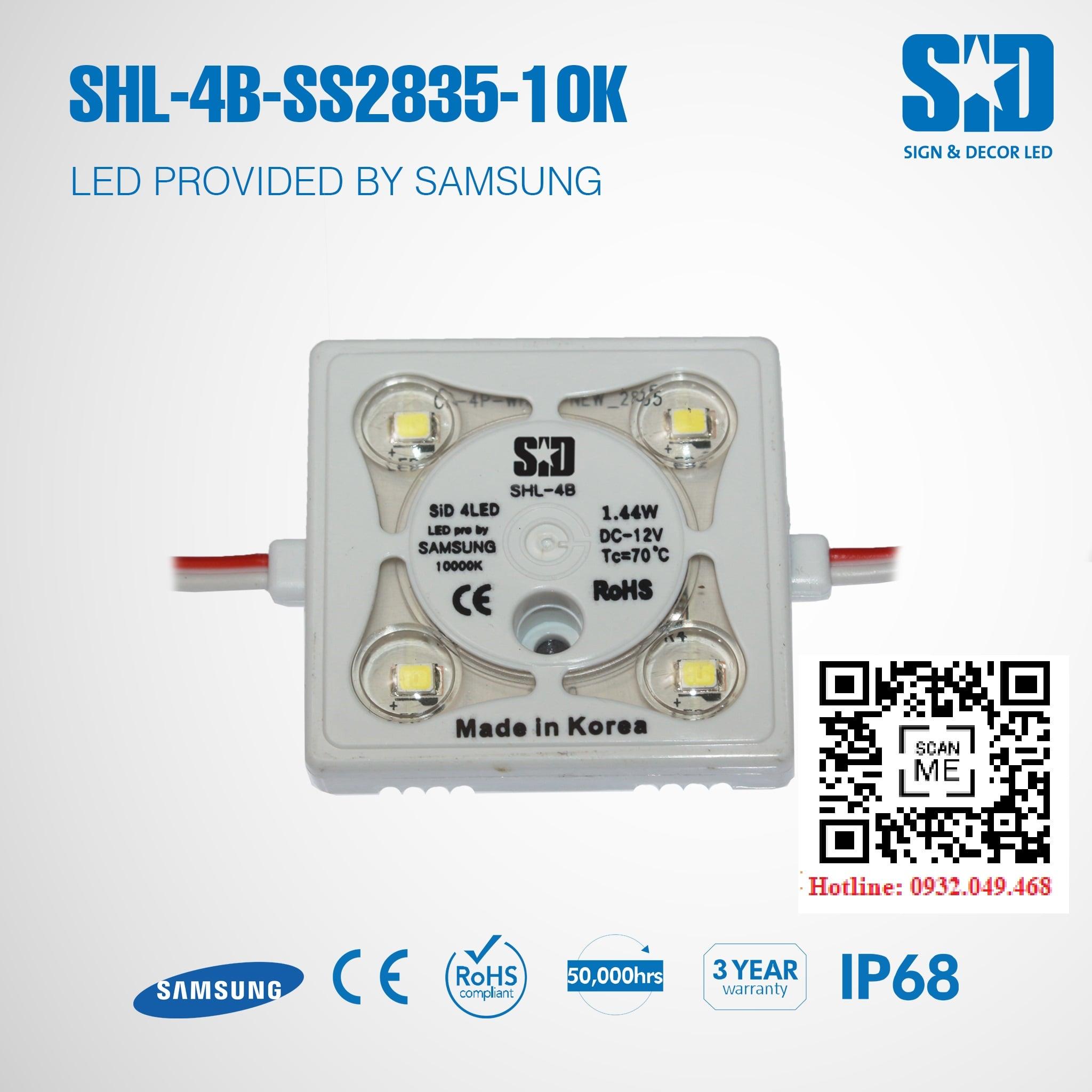 ĐÈN LED MODULE 4 BÓNG SAMSUNG 2835 HIỆU SID | Mã: SHL-4B-SS2835-10K