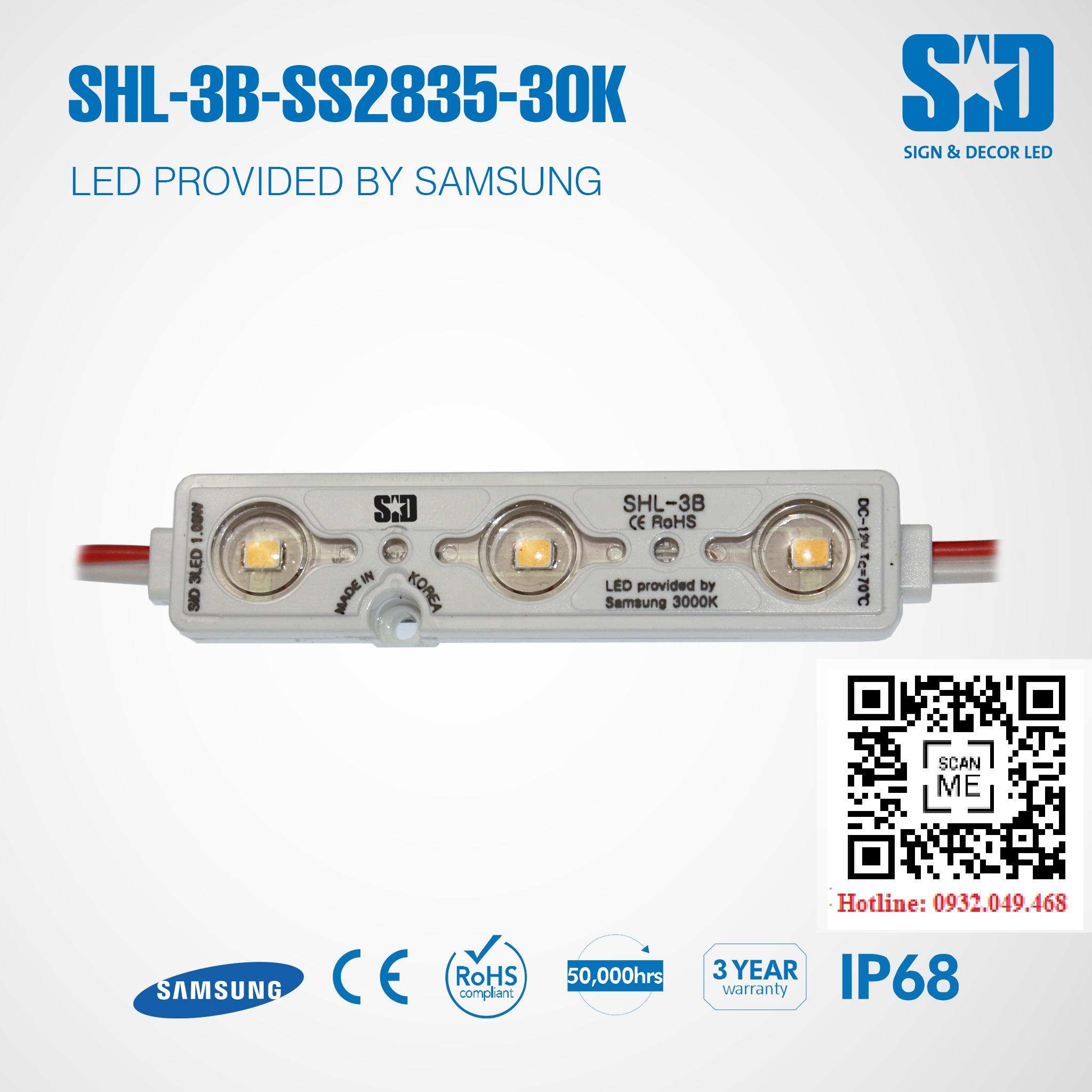 ĐÈN LED MODULE 3 BÓNG SAMSUNG 2835 HIỆU SID   Mã: SHL-3B-SS2835-30K