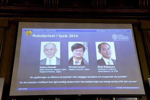 Ba nhà khoa học đoạt giải Nobel nhờ bóng đèn LED nhờ có tính ứng dụng và tiết kiệm cao